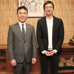 沢の鶴 西村隆社長とClear代表 生駒